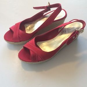 FRANCO SARTO Red Suede Women's Sandals 10M